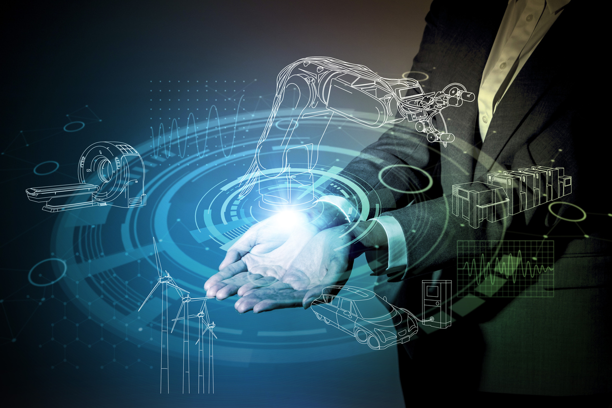 robot and industrial technology abstract, a woman holding her hand, industry4.0